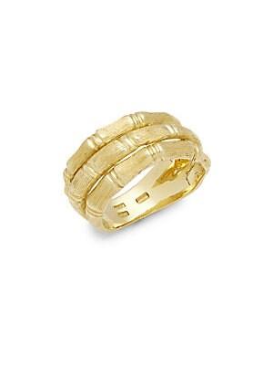 18K Gold Satin Bambu Ring
