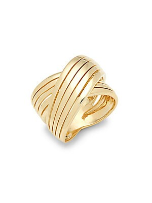 18K Gold Wide Crossover Ring