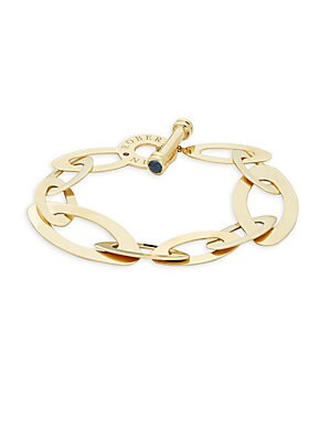 18K Yellow Gold and Sapphire Flat Chain Link Bracelet