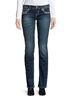 Snowflake Embroidered Jeans