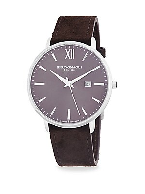 Leather Strap Slim Case Watch