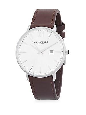 Slim Case Leather Strap Watch