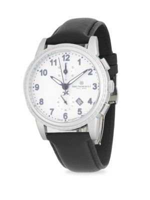 CHRONOGRAPH LEATHER-STRAP WATCH