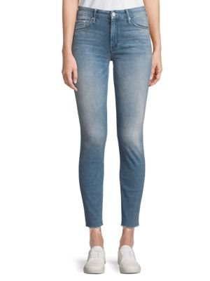 FRAYED ANKLE-LENGTH JEANS