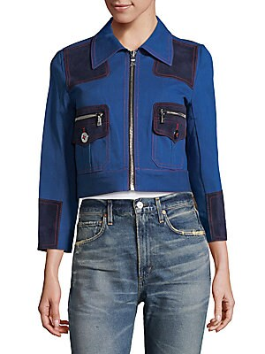 Leather-Trimmed Paneled Denim Jacket