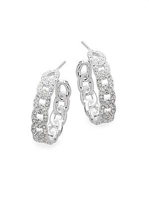 Crystal Chain-Like Hoop Earrings