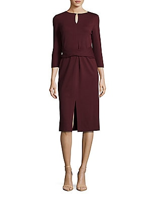 Wrap Front Solid Dress