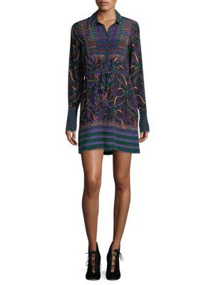 Drawstring Silk Shirtdress
