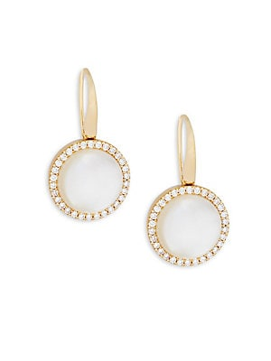 Mother-Of-Pearl, Crystal Doublet and 18K Rose Gold Earrings