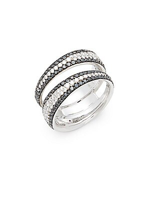 Click here for 18K White Gold & Diamond Double Band Ring prices