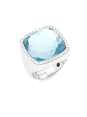 Diamond, Topaz and 18K White Gold Doublet Ring