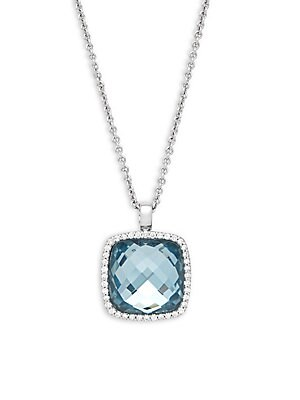 Click here for Diamond  Topaz Doublet and 18K White Gold Pendant... prices