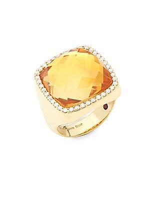 Citrine, Diamond and 18K Yellow Gold Ring