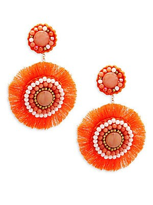 Coral Circle Beaded Drop Earrings