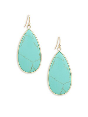 Turquoise Agate Teardrop Earrings