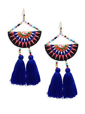 Tribal Tassel Beaded Drop Earrings