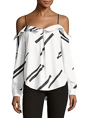 Click here for Printed Cold-Shoulder Top prices
