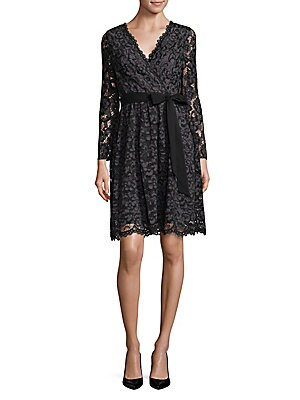 Embroidered Lace Wrap Dress