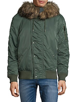 Faux Fur-Trimmed Jacket