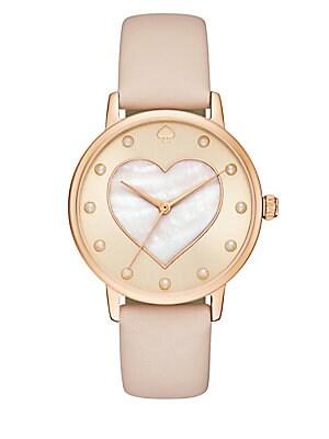 34mm Heart Leather Strap Bracelet Watch