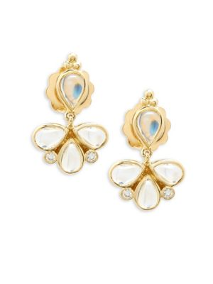 CRYSTAL AND 18K YELLOW GOLD DANGLE AND DROP EARRINGS