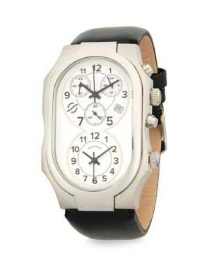 STAINLESS STEEL OVAL LEATHER-STRAP WATCH