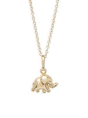 14K Yellow Gold Elephant Pendant Necklace