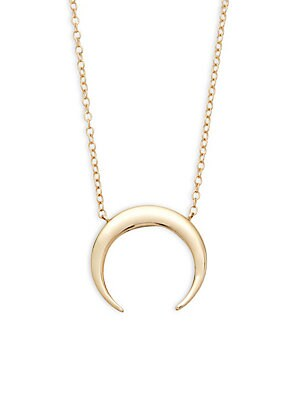 14K Gold Half-Moon Pendant Necklace