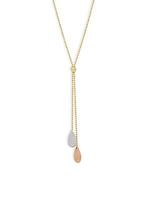 14K Yellow, White & Rose Gold Lariat Necklace