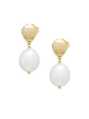 18K Yellow Gold Pearl Drop Earrings
