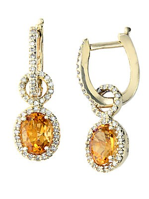 14Kt. Yellow Gold Citrine and Diamond Drop Earrings