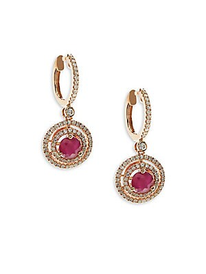 Ruby, Diamond and 14K Rose Gold Dangle Earrings