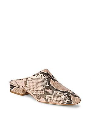 Sebina Leather Snake-Print Mules