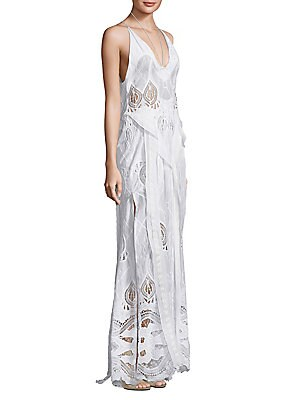 Embroidered Cotton Crochet Maxi Dress