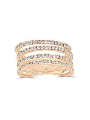 DIAMOND AND 14K ROSE GOLD FOUR-ROW RING