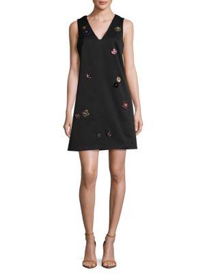 3D Floral Applique A-Line Dress