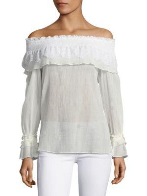 Louella Lace-Trim Off-The-Shoulder Blouse