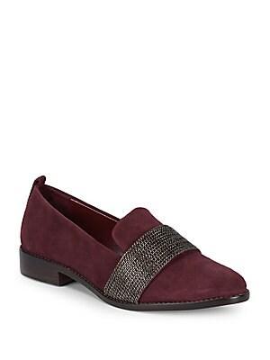 Adrian Chain Suede Block Heel Loafers