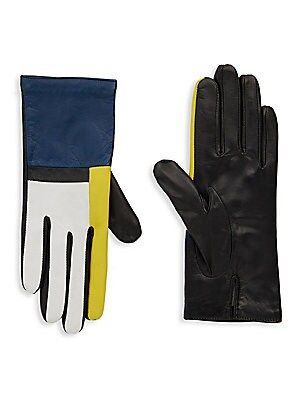 Colorblock Leather Gloves