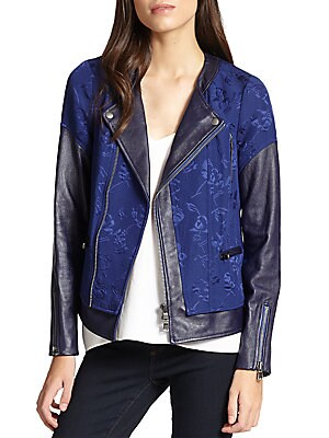 Floral Jacquard & Leather Moto Jacket