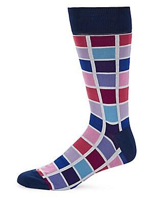 Multicolored Square-Pattern Socks