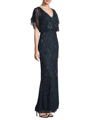Flutter-Sleeve Beaded Gown