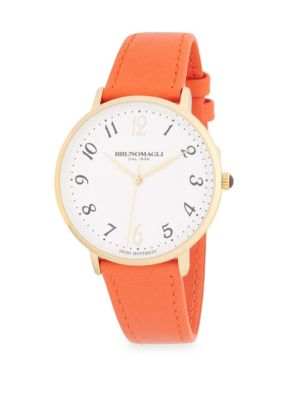 STAINLESS STEEL AND LEATHER-STRAP WATCH