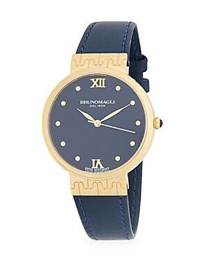 Goldtone Unique Leather Strap Watch