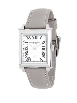 Silvertone Stainless Steel and Leather Strap Watch