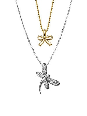 Click here for 14K White Gold Dragonfly and Mini Yellow Gold Bow... prices