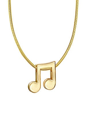 14K Yellow Gold Music Note Necklace