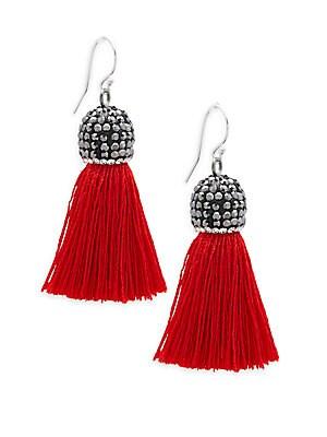 Cubic Zirconia and Silk Tassel Earrings