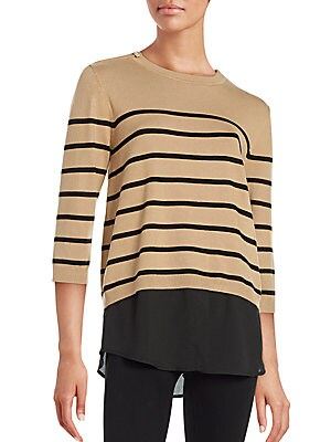 Crewneck Mock Layer Striped Sweater