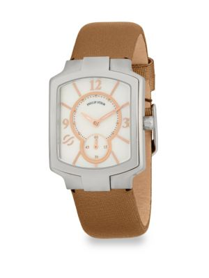 CLASSIC SQUARE LEATHER STRAP WATCH